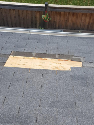 Close up of removed shingles
