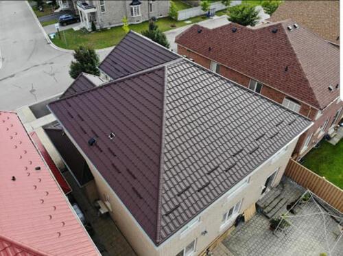 Aerial View of Metal Roof
