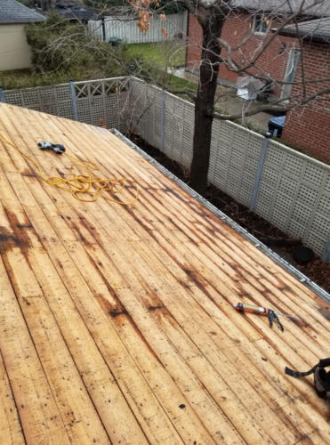 Removal of one slope with full underlayment
