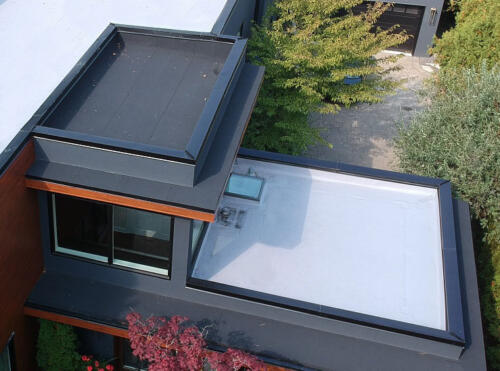 Flat roof on residential home