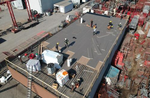 Commercial flat roof replacement with 2-ply modified bitumen